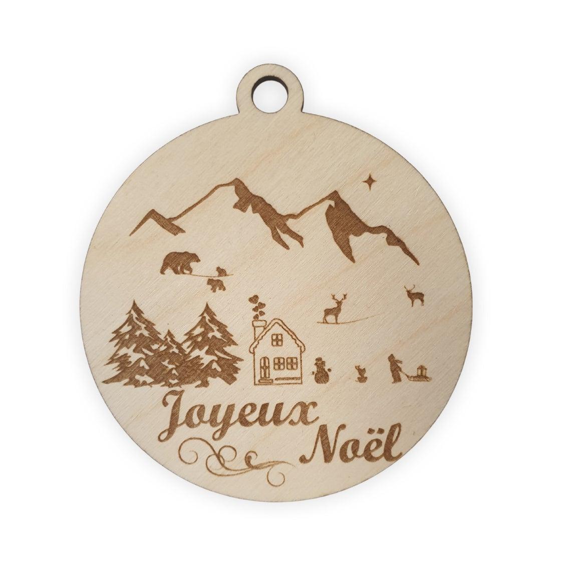 Boule noel bois paysage montagne animaux chalet joyeux ourson