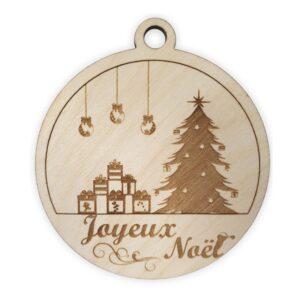 Boule de noel en bois sapin joyeux noel cadeau
