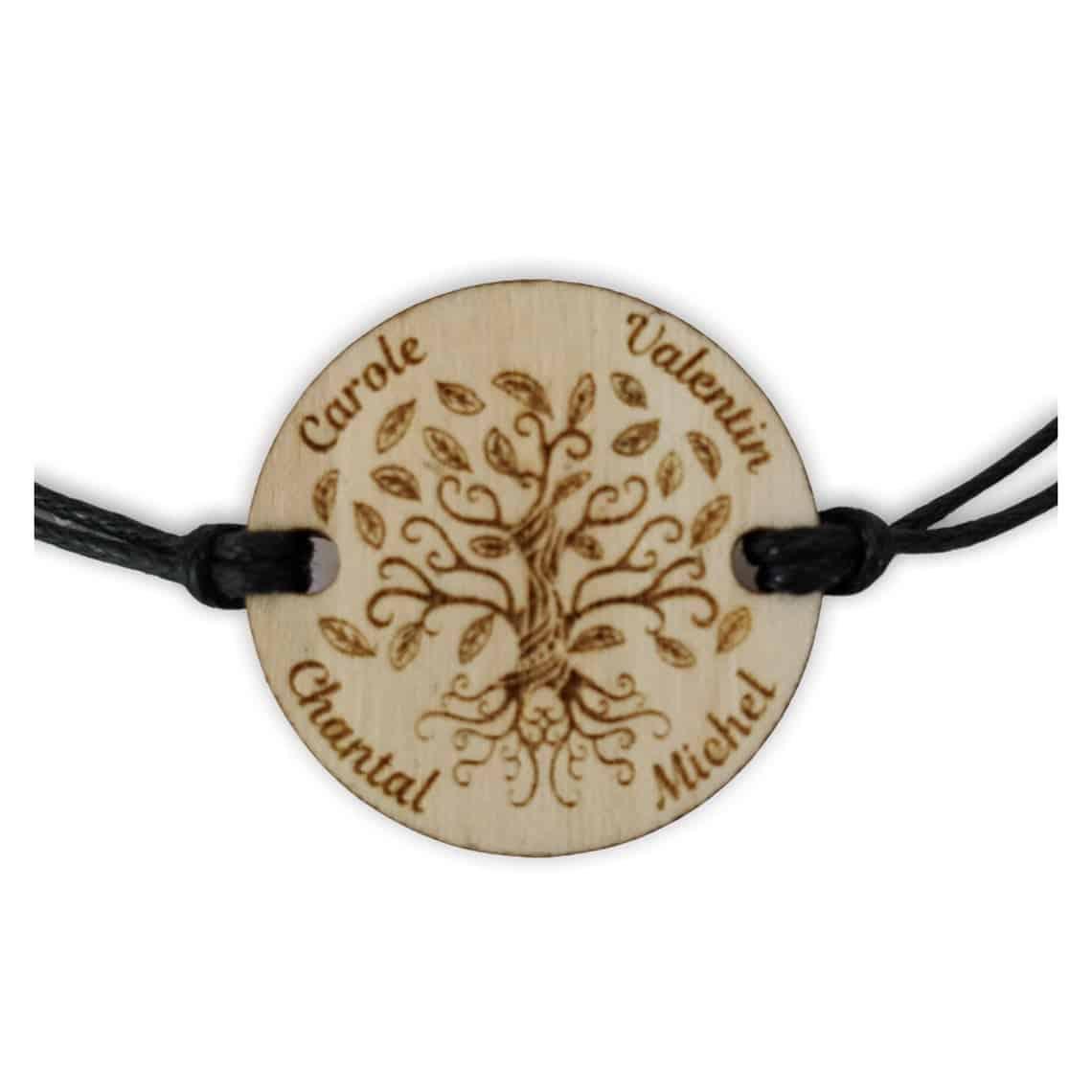 Bracelet arbre vie bois personnalisé prénom famille