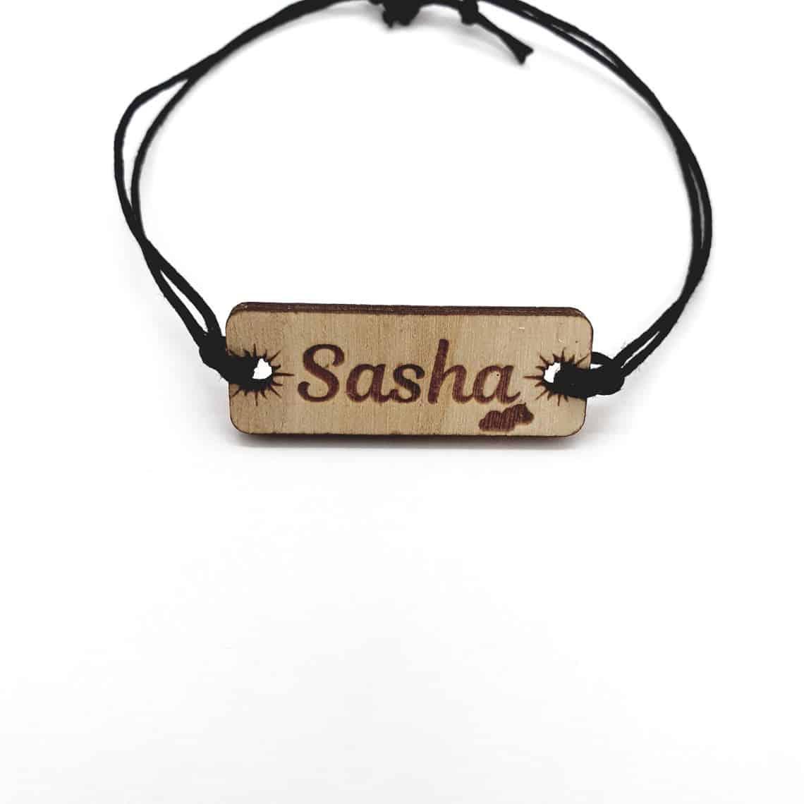 Bracelet bois prénom personnalisé soleil nuage plein