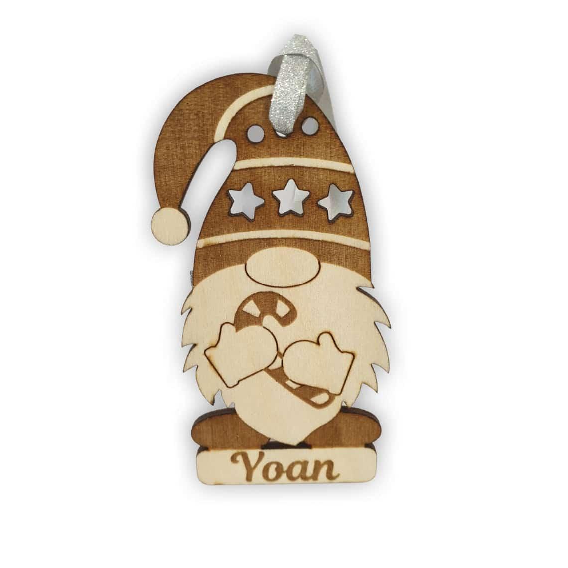 Gnome de noël en bois en boule de sapin originale avec prénom personnalisé sucre d'orge