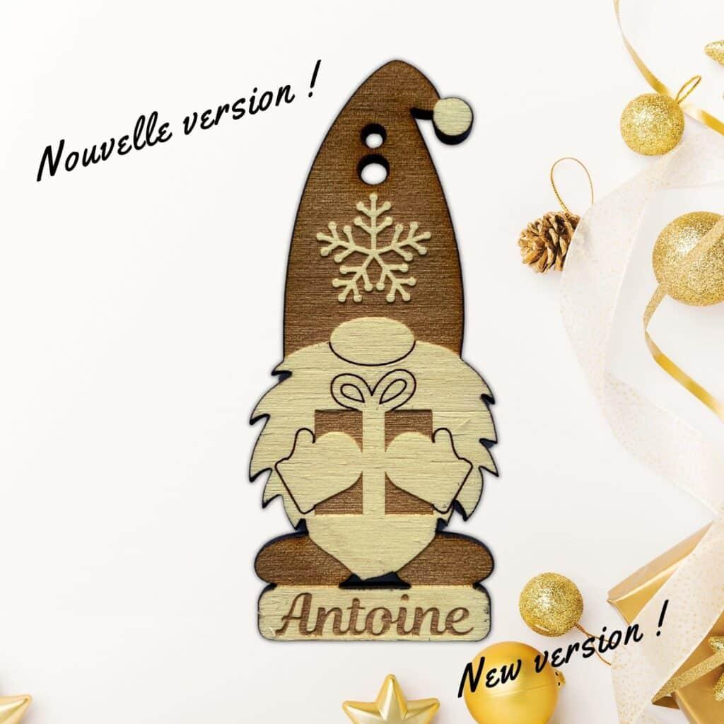 gnome de noel en boule personnalisée gravure laser bois deco de noel fait main pour les fêtes