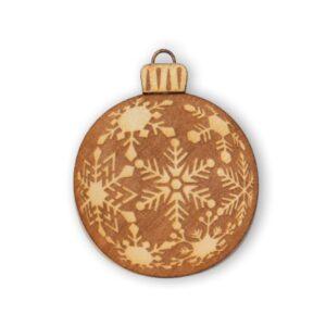 gravure sur bois boule de noel flocon de neige clair pour décoration de noel intérieur
