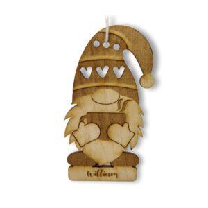 lutin de noel avec chocolat chaud en boule de noel personnalisée gravure laser bois pour deco de noel fait main
