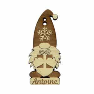 Gnome en bois personnalisé avec cadeau pour décoration de noël gravé et découpé au laser